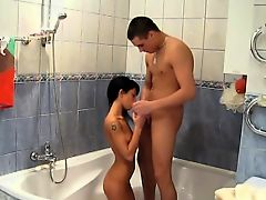 Taking a shower together makes  young sweethearts so
