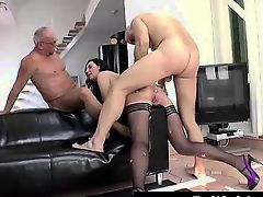 British lady in stockings takes raw anal group sex
