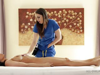 lovely female-on-female gives a french lady a massage