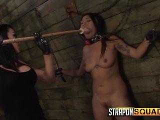 she gets violated with a dildo on a pole