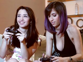 young lesbians have fun together