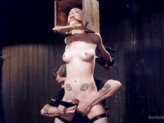 naughty jeze belle caught in a bondage device
