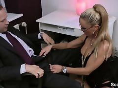 German Milf secretary astonishingly with her boss in the office
