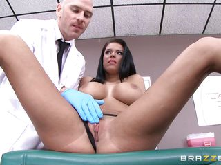 curvaceous chick sucking her doctor's phallus