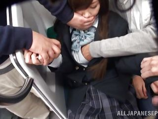 asian babe harassed by gang in train