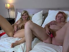 OldNanny Hot step-mom lesbian fuck with