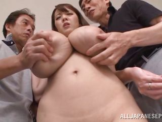 japanese cutie with massive natural boobs plays with her wet crack