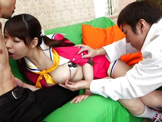 hardcore japanese cosplay threesome