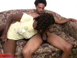 ebony shemale obtains big cock in her booty and facial stream of cum