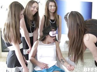 lesbians play with blindfolds in an groupie