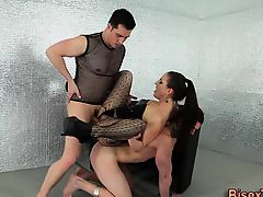Babe fondles bisex cock