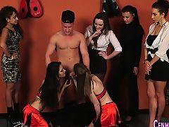 Cfnm mistress laughs jerk