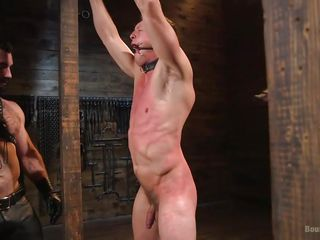 two masters hang him up on a dragon dildo