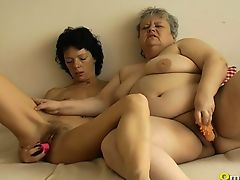 Completely fat chubby granny toys and pussy fisting