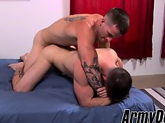 Army dude Mathias gives his virgin apple bottoms to hung major Quentin