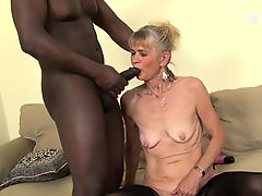 Granny penetrated raw in wazoo by brown she gets creampie