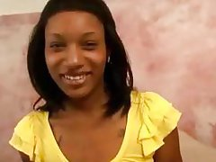 Tattooed teen ebony girlfriend showing small tits and playing with her skinny pussy