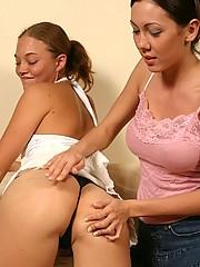 Hot lesbian babes enjoying spanking sex