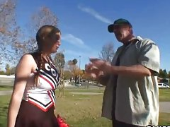 Old perve drives to the football field to pick up sexy cheerleader