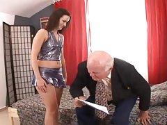 Claudia C sucks and rides some lewd old man's cock