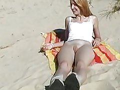 Pussy flashing on the beach