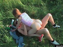 Close-up with nympho Beata riding huge fat dick outdoor