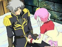 Anime Princess two men plus one female assfucked